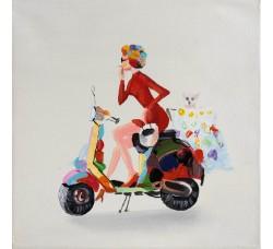 """Картина Bubola e Naibo 30x30 """"Девушка на мотоцикле"""""""