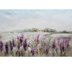 "Картина Bubola e Naibo 60x90 ""Поле, фиолетовые цветы, дом"""