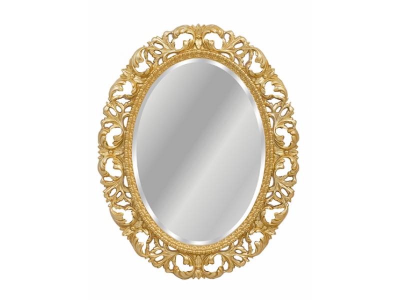 Овальное зеркало в барочном стиле, с широким орнаментом с фацетом
