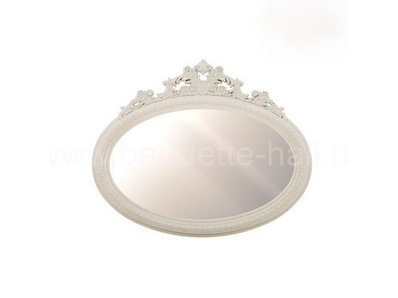 Зеркало овальное с кокошником беленый дуб