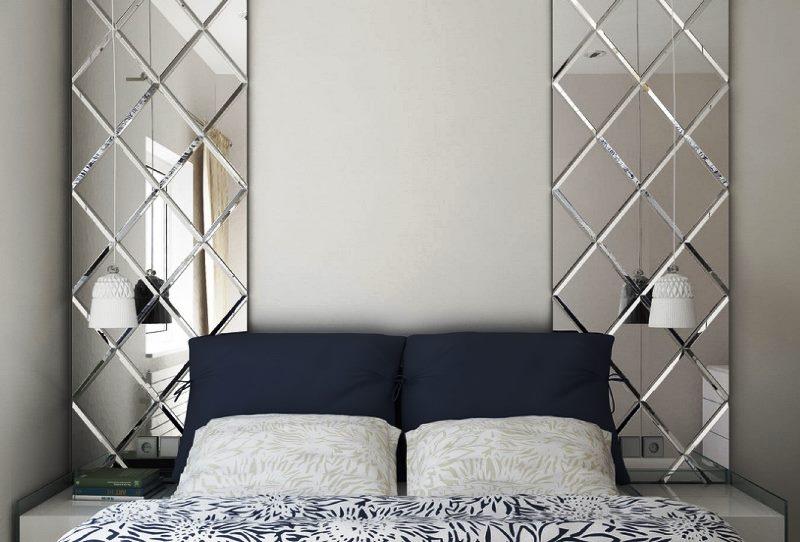 фото спальни с зеркальными панно